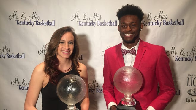 Mercer County's Seygan Robins, left, and Trevon Faulkner were named Kentucky's Miss and Mr. Basketball award winners Tuesday during a ceremony in Lexington, Ky.
