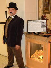 Jim Salamay portrays Nicola Tesla in this 2015 file photo at a Plymouth museum exhibit. He and his wife were found dead Tuesday in Plymouth Township.