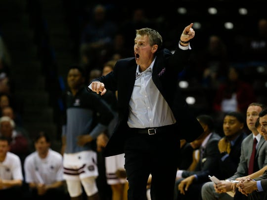The Missouri State Bears take on the Hampton University Pirates at JQH Arena in Springfield, Mo. on Friday, Dec. 8, 2017. Coach Paul Lusk directs his team during the game.