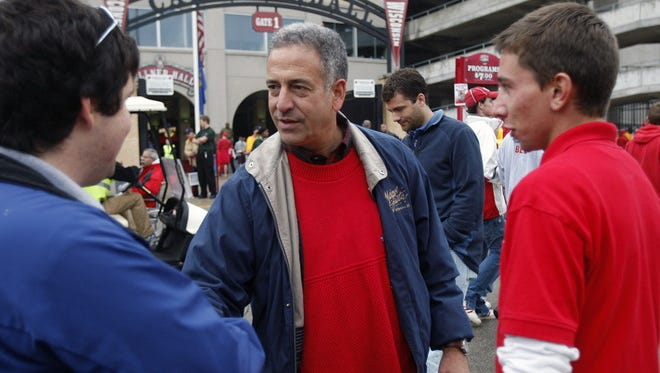 Senator Russ Feingold campaigns at Camp Randall Stadium before the Wisconsin-San Jose game Saturday, September 11, 2010.