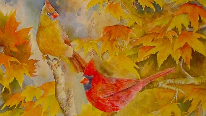 """Cardinal Pair,"" watercolor by Don Howard, part of the ""Startings"" exhibit at Meadows Art Gallery."
