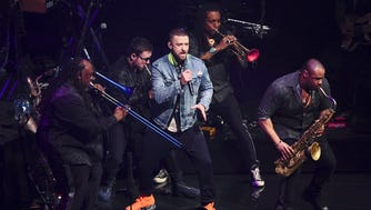 "Singer Justin Timberlake performs at Madison Square Garden during the ""Man of the Woods Tour"" on Thursday, March 22, 2018, in New York. (Photo by Evan Agostini/Invision/AP)"