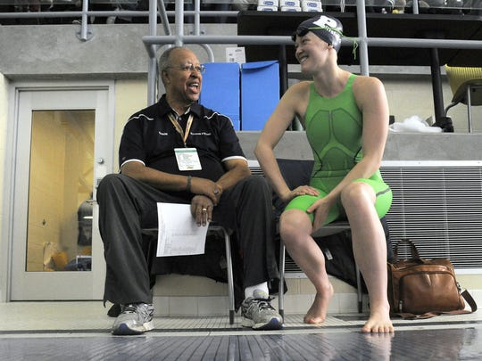 Pittsford coach Marty Keating talks with Lindsay Stone