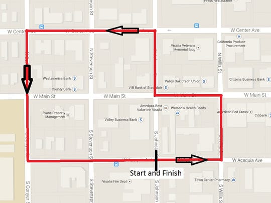 A map of the current 2015 Visalia Criterium course, which is not yet final. Race director Eric Henson said turn 3 may move a block West to N. Stevenson.