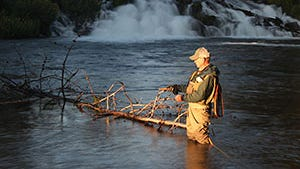 Fishing at first light at Fall River Falls, the site of a fly-fishing class on May 14.