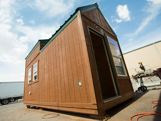 NMSU Doña Ana Community College instructor Kevin Gall along with his students built a tiny home, July 29, 2016, at the DACC Workforce Center.