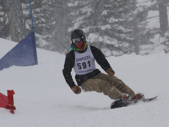Shasta High's Kyle Gardiner was third in the boys giant slalom snowboard race Monday at the CNISSF state championships at Northstar at Tahoe.