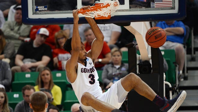 Gonzaga's Johnathan Williams dunks during the second half of Thursday's first-round NCAA Tournament game against South Dakota State in Salt Lake City.