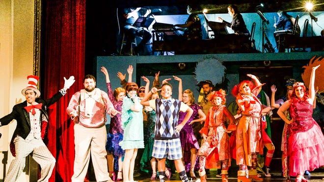 "Twelve-year-old Marcus Myers of Brockton as JoJo, center, is surrounded by other ""Seussical"" characters for the song ""Oh the Thinks You Can Think"" in a Hingham production."