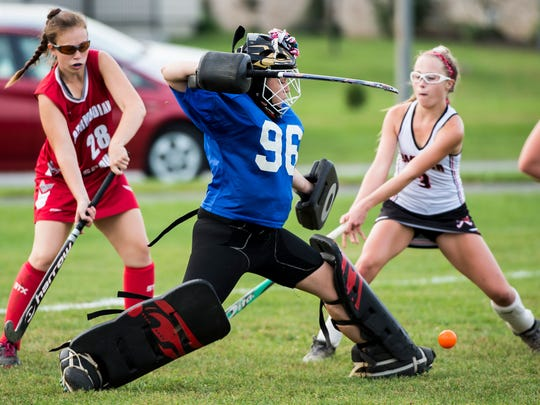 Bermudian Springs' Madison Dewease (96) blocks a shot during play against Hanover on Monday, Sept. 25, 2017. Dewease and the two other Bermudian goalies have only allowed two goals all season.