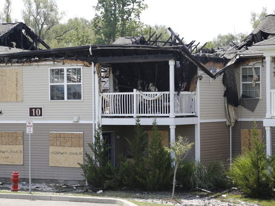 A large fire Wednesday evening at Poets Landing Apartments