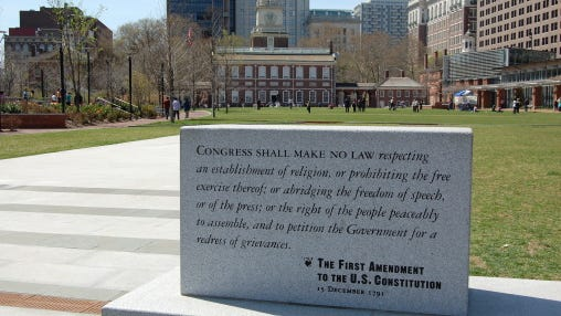 The First Amendment and Independence Hall in Philadelphia.