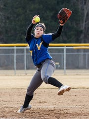 New Berlin West pitcher Cheyenne Sowinski (17) winds up during the game at Arrowhead on Wednesday, March 28, 2018.