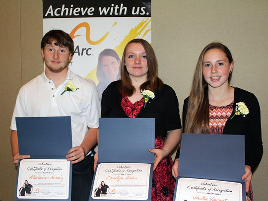Odessa-Montour School bowling team members, from left, Alex Grady, Carolyn Arias and Jackie Vincent, were recognized for volunteering with The Arc Schuyler at the organization's recent annual meeting.