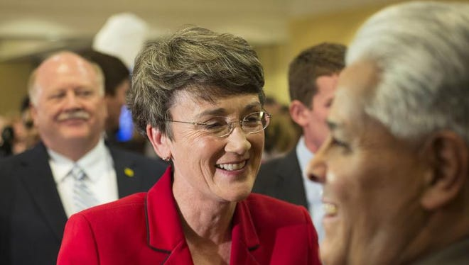 In this Nov. 6, 2012 file photo, Heather Wilson is seen in Albuquerque, N.M. President Donald Trump is planning to nominate the former New Mexico Rep. Heather Wilson as secretary of the Air Force. In confirmed, she would be the first Air Force Academy graduate to hold the position.