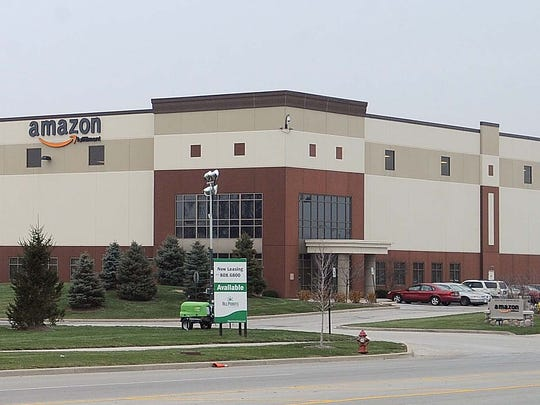 This is a photo of the Amazon order fulfillment facility in Whitestown, Ind.