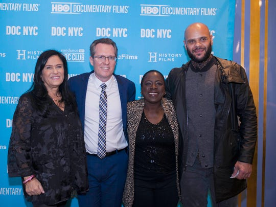 From left, Barbara Kopple, Thom Powers, Sharon Jones and an unidentified man at the DOC NYC screening of Kopple's Miss Sharon Jones!
