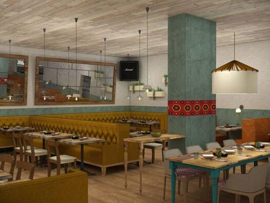 A rendering of the East dining area at Nada Nashville.