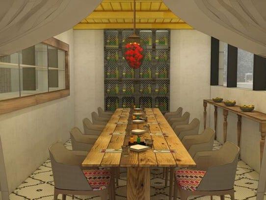 A private dining room inside Nada Nashville.
