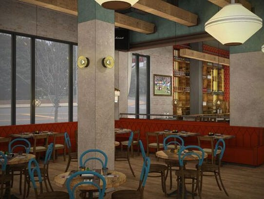 A rendering of the west dining area inside Nada Nashville.