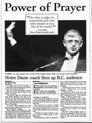Lou Holtz, then the University of Notre Dame football