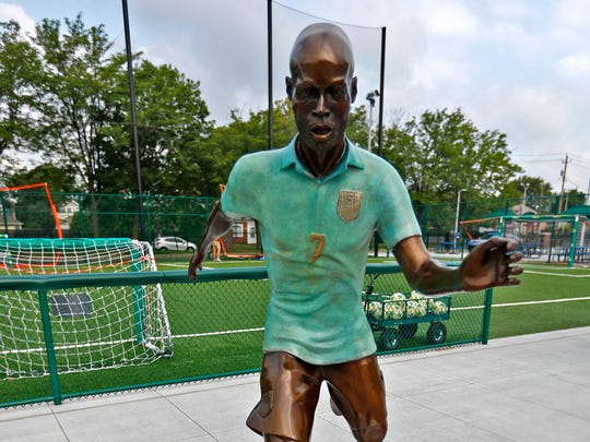 DaMarcus Beasley is portrayed in one of the new bronze statues of iconic Indiana sports legends to be unveiled Tuesday, July 24, 2018, in the Riley Children's Health Sports Legends Experience area at the Children's Museum of Indianapolis.