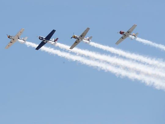 Acrobatic pilots perform during the 2018 Jacqueline