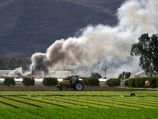 Smoke billows above the scene of an explosion at the Santa Clara Waste Water plant near Santa Paula in November 2014.