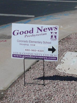 Good News Presbyterian Church in Gilbert wants to post roadside signs for its worship services, but the town's code prohibits them from going up more than 12 hours before an event.