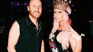 Nicki Minaj was photographed backstage with David Guetta at the Coachella Valley Music and Arts Festival on April 19.