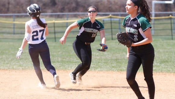 Yorktown shortstop Brianna Buck (13) makes a play at