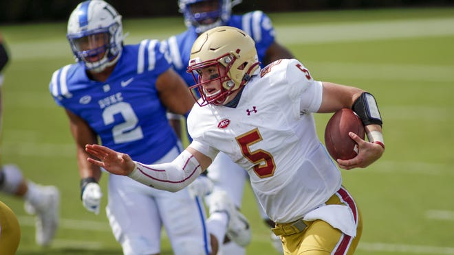 Boston College quarterback Phil Jurkovec became only the third Boston College quarterback since 2010 to throw for at least 300 yards in last week's win over Duke. He transferred from Notre Dame.