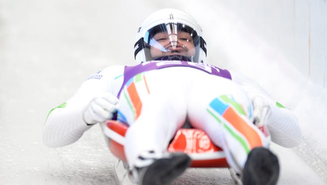 Shiva Keshavan participates during training for the men's singles luge at prior to the start of the Sochi 2014 Winter Olympic Games at Sanki Sliding Center.