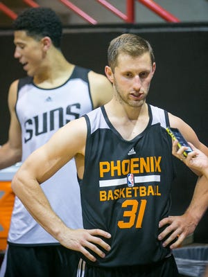Mickey McConnell attends a workout during the Phoenix Suns' NBA Summer League at US Airways Center in Phoenix on Tuesday, July 7, 2015.