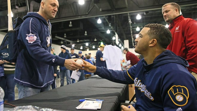 Milwaukee Brewers prospect Trent Clark (right) struggled from the plate last season at advanced Class A Carolina.