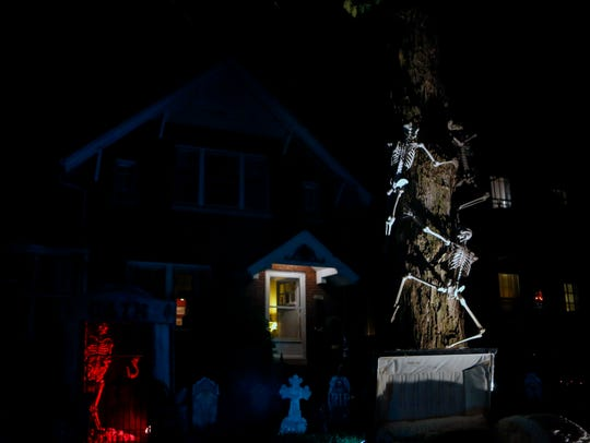The residents of Hillcrest Ave. decorate for Halloween