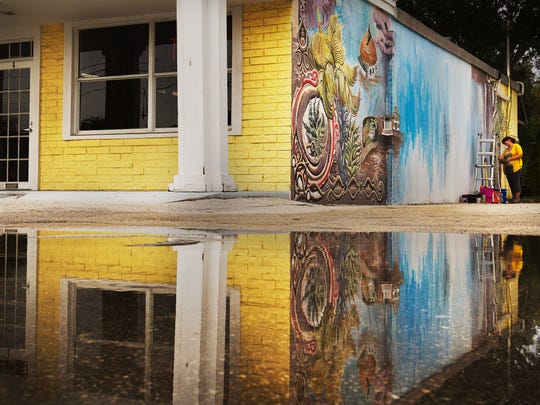 Artist Alicia Wilby is reflected in a puddle Tuesday along Old U.S. 41 as she paints a mural on the Bear building in downtown Bonita Springs . She and another artist have been commissioned by the city to paint several murals . The weather pattern over the last several days has been abnormal .