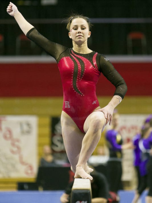 Rutgers freshman Elizabeth Groden finished tied for 10th in the all-around in her first NCAA regional competition. The New Oxford graduate posted a 38.850, the second-highest all-around score of her career.