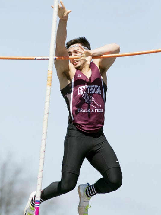Gettysburg's Nathan Sharrah cleared 12 feet to win the pole vault at Saturday's Arctic Blast Invitational at Northern York High School.