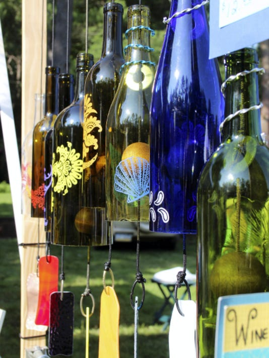 Wine bottle wind chimes were just some of the crafts available Saturday during the 33rd annual Crafts Fair at Caledonia State Park.
