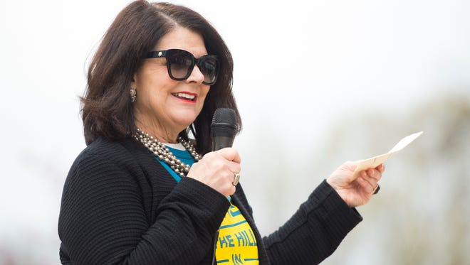 University of Tennessee Chancellor Beverly Davenport speaks before the start of UT's Hike the Hill in Heels event on Monday, April 2, 2018.