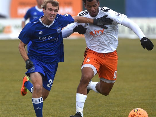 Reno 1868 FC's Christian Thierjung (20) battles Swope