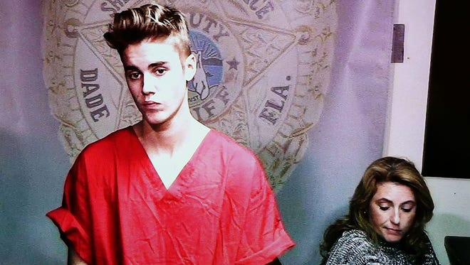 Justin Bieber appears in court via video feed during his arraignment in Miami.