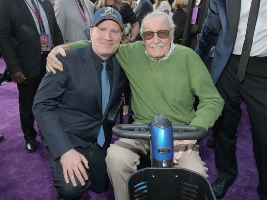 "President of Marvel Studios  Kevin Feige (L) and Stan Lee attend the Los Angeles premiere of ""Avengers: Infinity War"" on April 23."