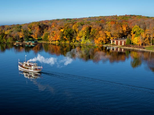 The Lake Geneva Cruise Line's Steam Yacht Louise is one of eight Gage Marine Boats offering public and charter tours on Lake Geneva. The historic boat seats 50 passengers or 18 people for a fall lunch or dinner.