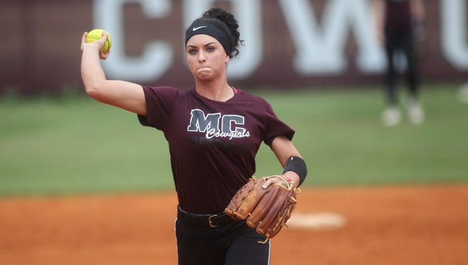Madison County pitcher Reese Rutherford and her softball team practices for the Cowgirls' Class 1A state semifinal in Vero Beach.
