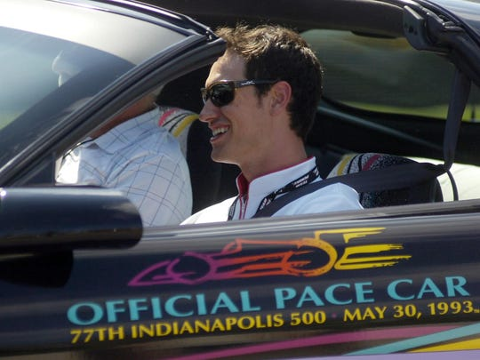 NASCAR driver Joey Logano joins a caravan of other race car drivers along Woodward Avenue.