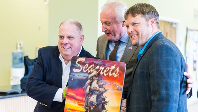 Governor Larry Hogan, State Senator Jim Mathias and Delegate Carl Anderton meet with Hardwire LLC founder George Tunis at the company's office in Pocomoke City on Tuesday, June 21.