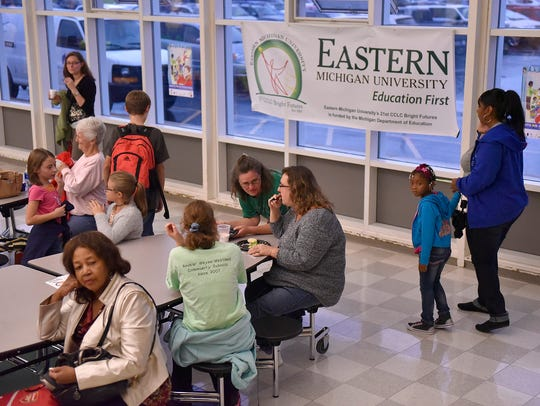 Parents and kids gathered at Franklin Middle School