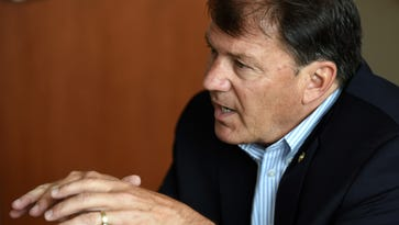 Senator Mike Rounds talks with Argus Leader Media staff in Sioux Falls, S.D., Friday, July 22, 2016.